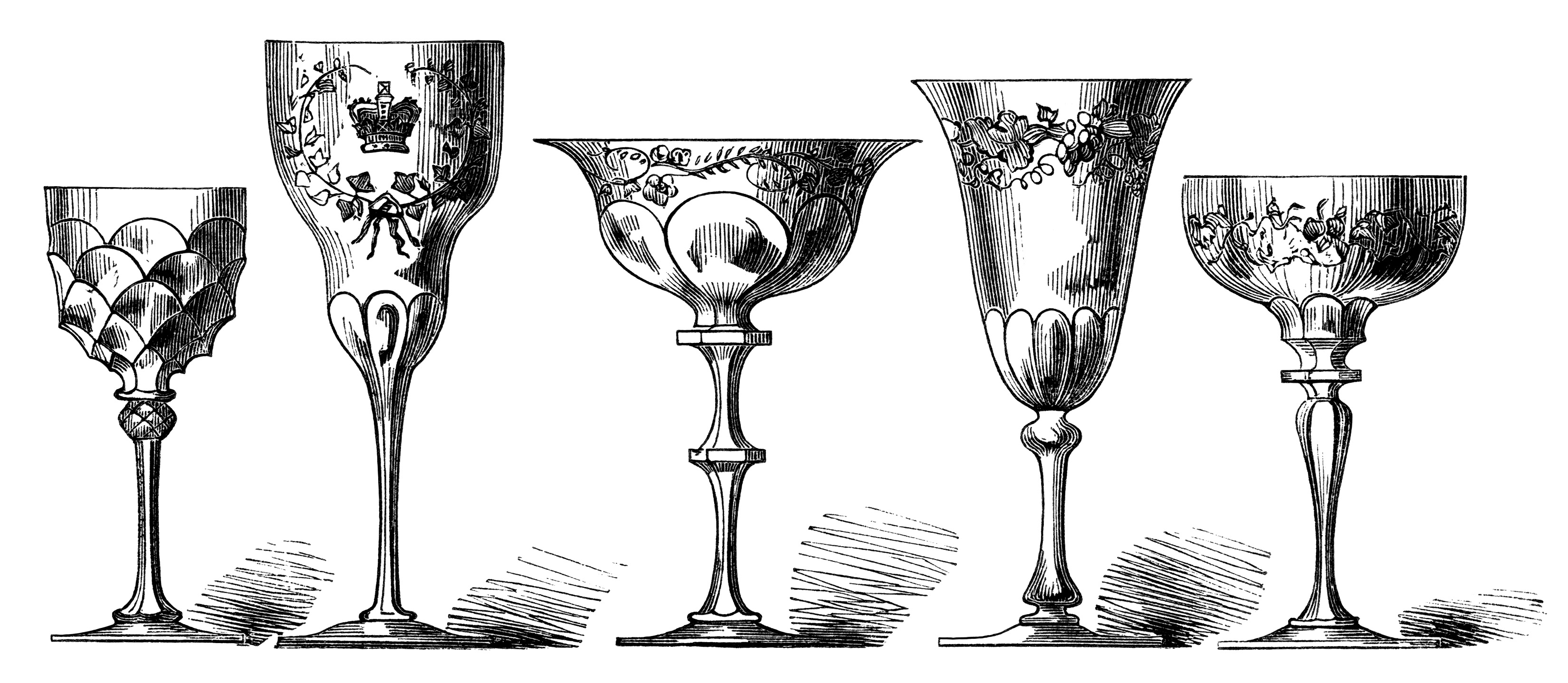 OldDesignShop_5WineGlasses